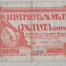Billetes locales: BILLETE DE MONTGAT - 50 CÉNTIMOS. Lote 277229853