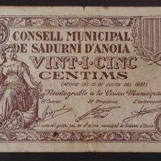 Billetes locales: BILLETE DE SADURNI D'ANOIA 25 CÉNTIMOS 1937. Lote 277234668