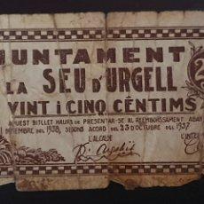 Billetes locales: BILLETE DE 25 CÉNTIMOS - LA SEU D'URGELL. Lote 277239458
