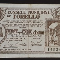 Billetes locales: BILLETE DE TORELLÓ - 25 CÉNTIMOS - GUERRA CIVIL.. Lote 277302528