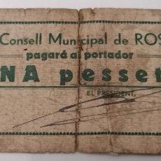 Billetes locales: ROSES. GIRONA. CONSELL MUNICIPAL. 1 PESSETA.. Lote 277429323