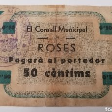 Billetes locales: ROSES. GIRONA. CONSELL MUNICIPAL. 50 CENTIMS.. Lote 277430193