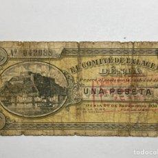 Billetes locales: BILLETE VALENCIANO - SELLADO - EL COMITÉ DE ENLACE DE DENIA - 26 DE SEPTIEMBRE 1936 - 1 PESETA. Lote 277703123