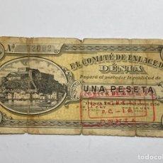 Billetes locales: BILLETE VALENCIANO - SELLADO - EL COMITÉ DE ENLACE DE DENIA - 26 DE SEPTIEMBRE 1936 - 1 PESETA. Lote 277703238