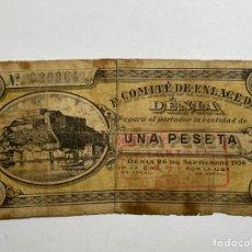 Billetes locales: BILLETE VALENCIANO - SELLADO - EL COMITÉ DE ENLACE DE DENIA - 26 DE SEPTIEMBRE 1936 - 1 PESETA. Lote 277704283