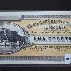Billetes locales: BILLETE LOCAL 1 PESETA DENIA EXCELENTE SC ORIGINAL. Lote 277827833