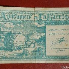 Billetes locales: BILLETE DEL AJUNTAMENT DE LA GARRIGA - 25 CÉNTIMOS.. Lote 278542873