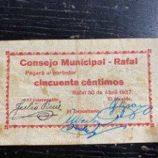 Billetes locales: RAFAL ALICANTE 50 CTS. Lote 278628698