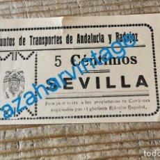 Billetes locales: GUERRA CIVIL. VALE POR 5 CENTIMOS PARA INDEMNIZAR DUEÑOS CAMIONES REQUISADOS. SEVILLA.. Lote 278680143