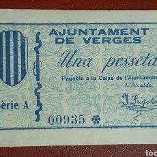 Billetes locales: BILLETE DE 1 PESETA DEL AJUNTAMENT DE VERGES DEL AÑO 1937. SIN CIRCULAR. Lote 278837783
