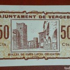 Billetes locales: BILLETE DE 50 CÉNTIMOS - AJUNTAMENT DE VERGES - SIN CIRCULAR. Lote 278837838