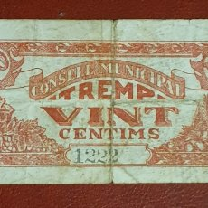 Billetes locales: BILLETE DE 20 CÉNTIMOS DEL CONSELL MUNICIPAL DE TREMP DEL AÑO 1937. Lote 278841923