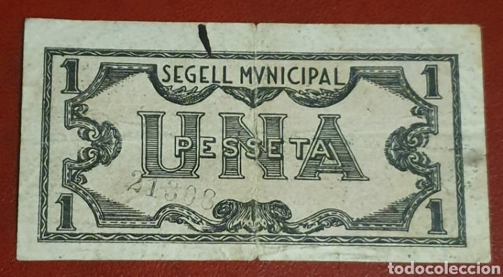 Billetes locales: BILLETE DE 1 PESETA DEL CONSELL MUNICIPAL DE TREMP DEL AÑO 1937 - Foto 2 - 278841978