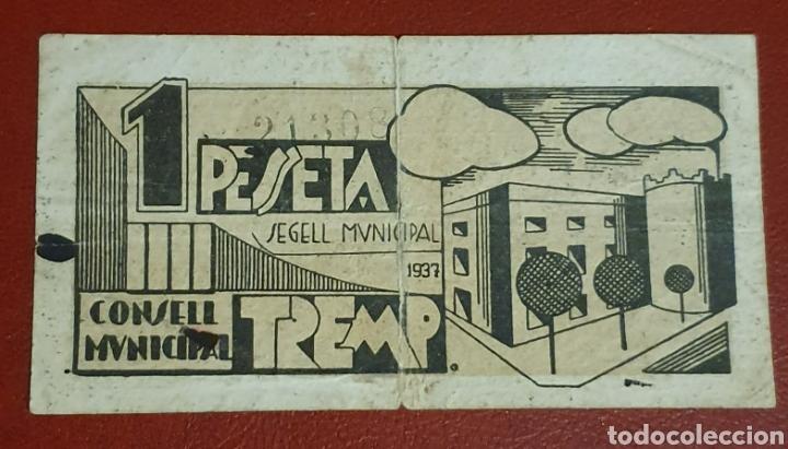 BILLETE DE 1 PESETA DEL CONSELL MUNICIPAL DE TREMP DEL AÑO 1937 (Numismática - Notafilia - Billetes Locales)