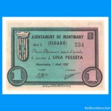 Billetes locales: MONTMANY - FIGARÓ (BARCELONA) SERIE DE 3 BILLETES SC- 1 PTA 50 Y 25 CTS. Lote 279458753