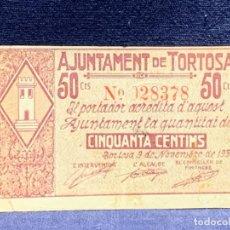 Billetes locales: BILLETE 50 CTS AJUNTAMENT DE TORTOSA NOVIEMBRE 1937 Nº028378 6X9,5CMS. Lote 283863318