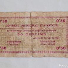 Billetes locales: BILLETE CONSEJO MUNICIPAL D'ALCOVER 50 CENTIMOS T109. Lote 284318958