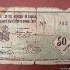 Billetes locales: ENGUERA. VALENCIA. CONSEJO MUNICIPAL. 50 CÉNTIMOS. Lote 284334538
