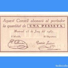 Billetes locales: MONT-RAL (TARRAGONA) SERIE DE 3 BILLETES PLANCHA RAROS 1 PTA 50 Y 25 CTS. Lote 285046683