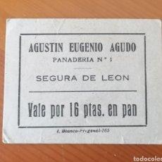 Billetes locales: SEGURA DE LEÓN. BADAJOZ. VALE 16 PESETAS EN PAN. Lote 288183208