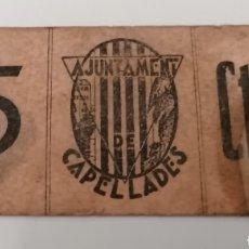Billetes locales: CAPELLADES. BARCELONA. AJUNTAMENT. SEPTEMBRE 1937, 5 CENTIMS. Lote 288227998