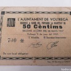 Billetes locales: VOLTREGA. BARCELONA. AJUNYAMENT. 50 CENTIMS. Lote 288321968