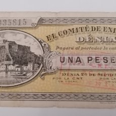 Billetes locales: DÉNIA. ALICANTE. COMITÉ ENLACE. 1 PESETA. SEPT. 1936. Lote 288322433