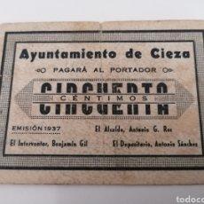 Billetes locales: CIEZA. MURCIA. AYUNTAMIENTO. 50 CENTIMOS. Lote 288322868