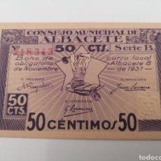 Billetes locales: ALBACETE. CONSEJO MUNICIPAL. 50 CÉNTIMOS. Lote 288323173