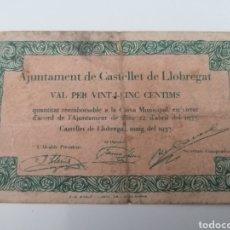 Billetes locales: CASTELLET DE LLOBREGAT. BARCELONA. AJUNYAMENT. 25 CENTIMS. Lote 288323568