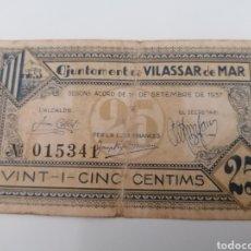 Billetes locales: VILASSAR DE MAR. BARCELONA. 25 CENTIMS. Lote 288323818