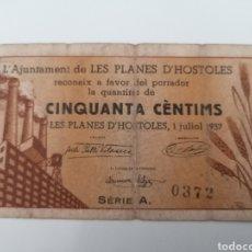 Billetes locales: LES PLANES HOSTOLES. BARCELONA. AJUNYAMENT. 50 CENTIMS. Lote 288324153
