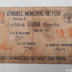 Billetes locales: FLIX. TARRAGONA. CONSELL MUNICIPAL. 1 PESSETA. Lote 288616953