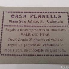 Billetes locales: VALENCIA. CASA PLANELLS. VALE 0,50 PTAS. CUPON/TICKET. RARO. Lote 288979983