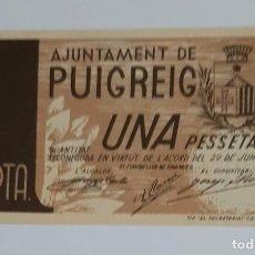 Billetes locales: BILLETE LOCAL AYUNTAMIENTO PUIGREIG DE 1 PESETA T-2352 EBC+. Lote 289647903