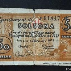 Billetes locales: BILLETE LOCAL 50 CÉNTIMOS SOLSONA GUERRA CIVIL. Lote 289695098