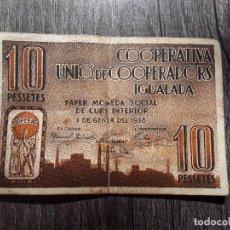 Billetes locales: BILLETE LOCAL -10 PESETAS - COOPERATIVA UNIO DE COOPERADORS IGUALADA - AÑO 1938. Lote 289699598