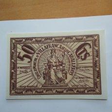 Billetes locales: CONSEJO MUNICIPAL DE VILLAFRANCA DE LOS CABALLEROS. (TOLEDO). Lote 289720573