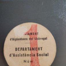 Billetes locales: AJUNTAMENT DE AIGUESTOSES DEL LLOBREGAT. VALE POR UNA PESETA. GUERRA CIVIL. Lote 289733768