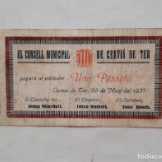 Billetes locales: BILLETE MUNICIPAL CERVIA DE TER 1 PESETA T- 953 RR. Lote 289760668