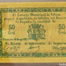Billetes locales: BILLETE LOCAL MAYO 1937 TOTANA 50 CTS 69X96. Lote 290763748
