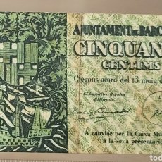 Billetes locales: BILLETE LOCAL MAYO 1937 BARCELONA 50 CTS 56X94. Lote 290766438