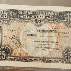Billetes locales: BILLETE LOCAL ENERO 1937 BILBAO 25 CTS MBC. Lote 290767068