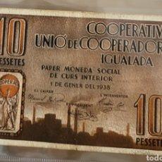 Billetes locales: BILLETE LOCAL ENERO 1938 IGUALADA 10 PESETAS. Lote 290767483