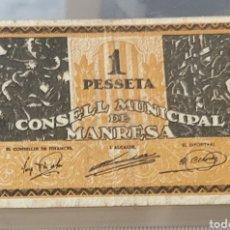 Billetes locales: BILLETE LOCAL MANRESA 1 PESETA 55X85. Lote 290767738