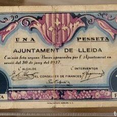 Billetes locales: BILLETE LOCAL JUNIO 1937 LLEIDA 1 PESETA. Lote 290768183