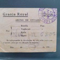 Billetes locales: GRANJA ROYAL BARCELONA. NOVIEMBRE 37. VALE POR 20 CTS. GUERRA CIVIL. Lote 292207803
