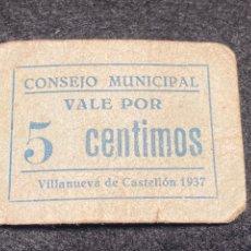 Billetes locales: VILLANUEVA DE CASTELLON 5 CTS. Lote 292234038