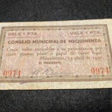 Billetes locales: MEQUINENZA ZARAGOZA. Lote 292236413