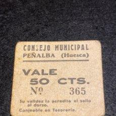 Billetes locales: PEÑALBA HUESCA 50 CTS. Lote 292237623